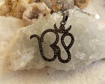 Pave Diamond & Sterling Silver OHM Necklace