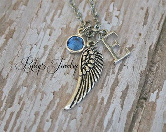 Angel Wing Necklace, Little Angel Necklace, Letter, Birthstone, Custom, Personalized Angel Necklace, Personalized Angel Wing Necklace