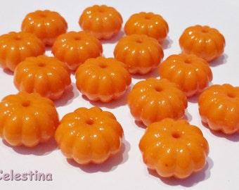 10 x Acrylic Pumpkin Beads - Bright Shiny Orange Halloween Pumpkins - 15mm x 9mm PB7