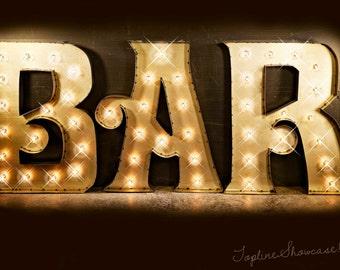 BAR Marquee Signs, Marquee letters, Marquee Lights, Vintage Marquee Sign, Marquee Letter Fixture: Marquee Lighted BAR Sign