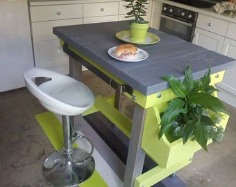 Handmade rustic butchers block style breakfast bar any colour, finish and height with chunky hanmade solid steel rails