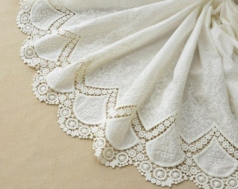"""Lace Fabric Cotton Fabric White Embroidery Cotton Flower Wedding Fabric 55"""" width 1 yard"""