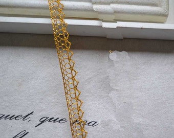 3 Yards Lace Trim Gold Flower Exquisite 0.47 inches width