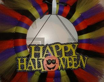 Halloween tutu wreath, READY TO SHIP