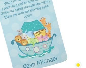 Personalized Noah's Ark Baby Blanket - Prayer Blanket for Boys - Noah's Ark Crib Blanket - Receiving Blanket - Fleece Baby Blanket