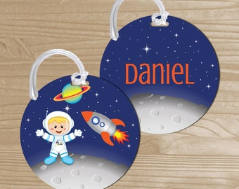 Personalized Space Bag Tag - Astronaut Backpack Name Tag - Space Rocket Bag Tag - Boys Bag Name Tag - Round Bag Tag - Kids' Luggage Tag