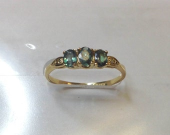 Natural Alexandrite Diamond Ring in 14K Yellow Gold with Certificate!!Free Shipping in USA Only