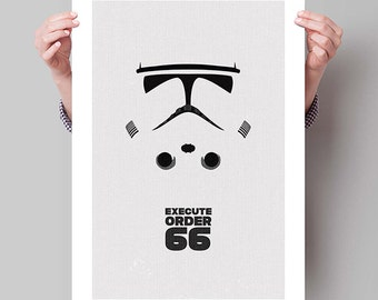 "STAR WARS Inspired Clonetrooper Minimalist Movie Poster Print - 13""x19"" (33x48 cm)"