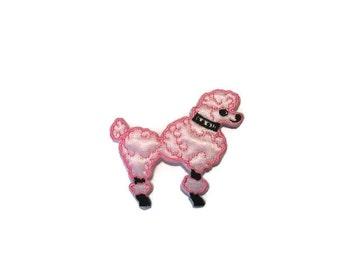 Pink Satin Poodle Applique, Dog Applique, Poodle Applique