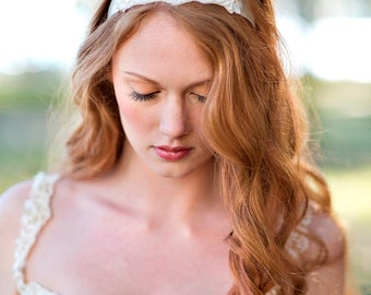 Andi Vintage Inspired Pearl Sash or Headpiece