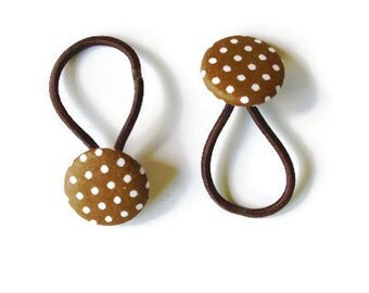 Hair buttons, Brown dotted buttons,  fabric hair accessories,  brown buttons for hair