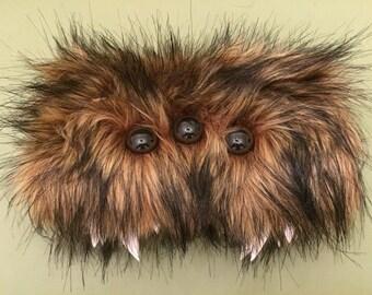 Heebie Jeebies Brown Furry Zipper Wallet/Clutch