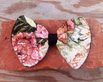 Vintage 90's Floral Tapestry Hair Bow