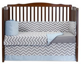 Minky Chevron Crib Bedding Set