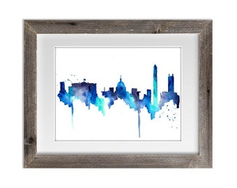 Washington DC Skyline, Print from Original Watercolor Painting, Home Decor, Kitchen art, Modern wall artwork, Blue Skyline