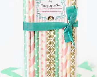 VINTAGE GIRL -Party Supplies -Mint and Pink Party -PINK Paper Straws, Mint Paper straws, Gold Straws, Vintage Decor, Wedding, Girl Party