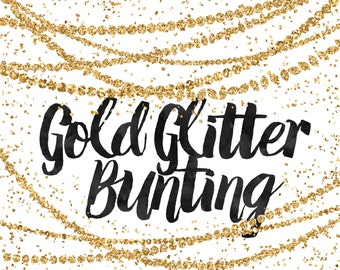 Gold Glitter Bunting Clipart / Digital Bunting / Glitter Clip Art / Gold Bunting Clip Art / Modern Clipart / Gold Graphics / Digital Border