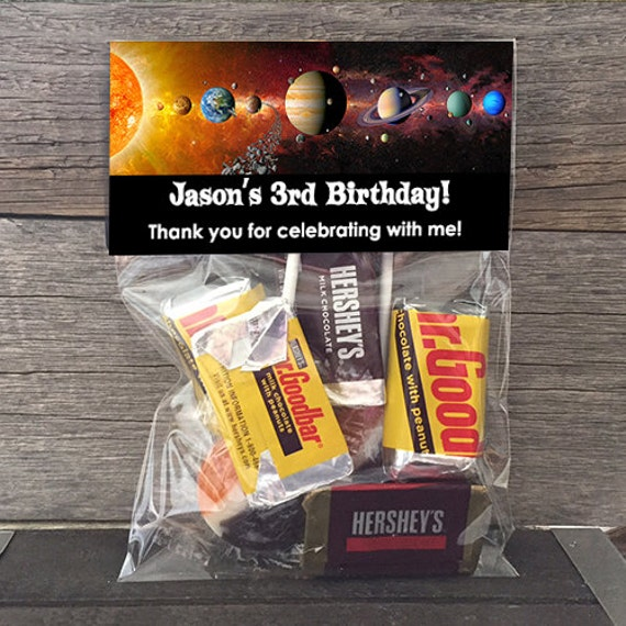 20 30 40 50 Outer Space Birthday Treat Bags Stickers And