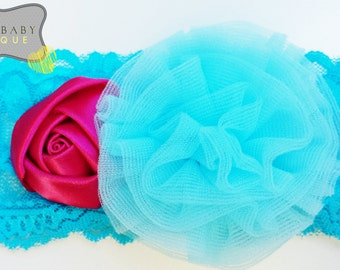 Baby Lace Headband, Turquoise and Hot Pink Headband, Headband, Baby Shower Gift, Baby Gift, Photo Prop, 1st Birthday, Pink, Turquoise
