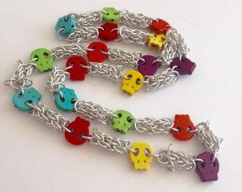 Día de Muertos Necklace - Day of the Dead Necklace - Skulls Necklace Chain