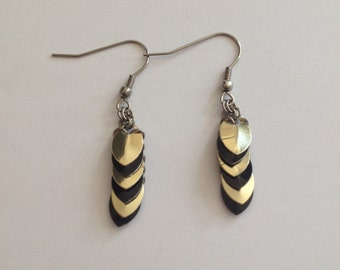 Scalemaille Earrings - Gold and Black Earrings - Dangly Scale Earrings
