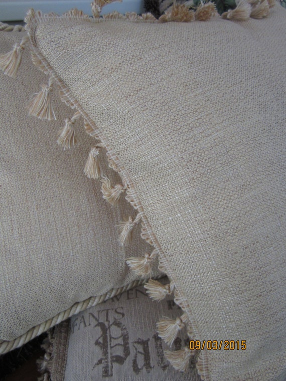 Woven golden tan chenille decorator fabric throw pillow with tassel fringe trim in 2 sizes