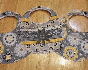 Flower baby bibs, set of 3, flowers, baby shower gift, yellow and gray