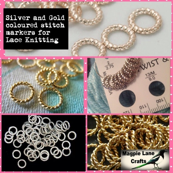 Lace Knitting Stitch Markers : RING STITCH MARKERSx10 or lace Knitting silver /Gold 4-7 mm