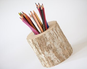 Wooden pen and pencil holder, home decor, rustic wedding decor, desk organization, desk accessory office decor.