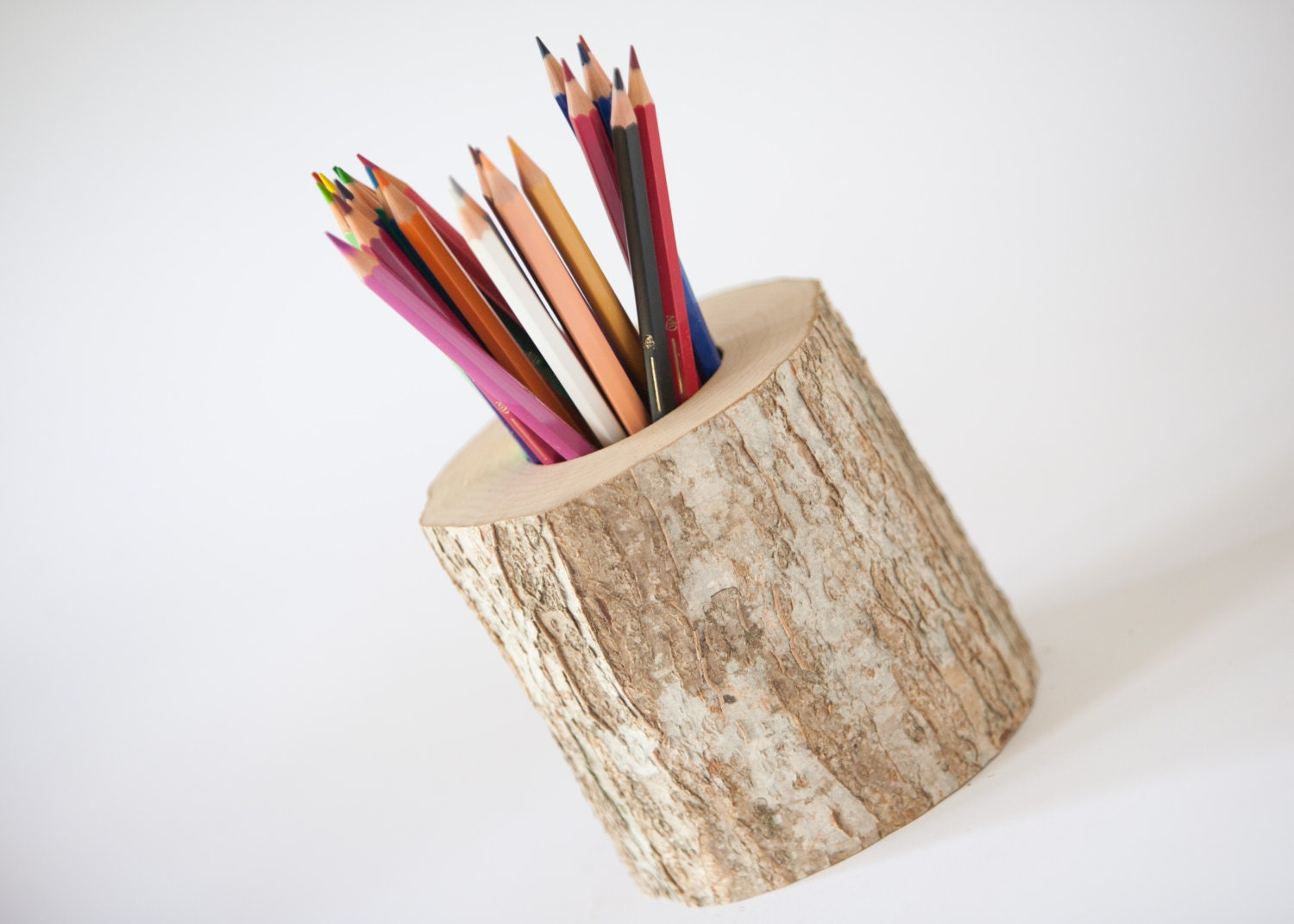 Wooden pen and pencil holder home decor rustic by DINDINTOYS