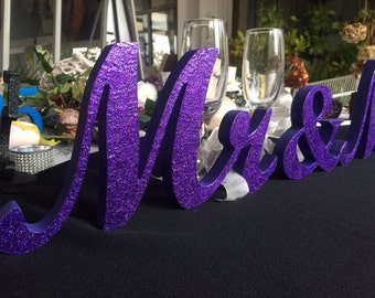 DARK Purple Glitter Mr. & Mrs. sign, wooden letters -  wedding table decoration, freestanding Mr and Mrs signs for sweetheart table. Mr Mrs