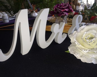 Gray Mr & Mrs wedding signs wooden letters for wedding table decor. Wedding top table Decor. Rustic Wedding Signage.
