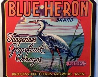 Blue Heron Vintage Florida Citrus Crate Label Brooksville Citrus Growers Brooksville, Florida