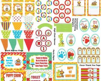 1st Birthday Puppy Party, Puppy 1st Birthday, Puppy Birthday Theme, DIY Printable Puppy, Puppy Party Pack, DIY Dog Party - Printables 4 Less