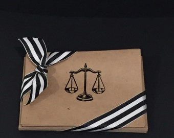 Law Scale Embossed Cards