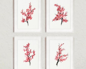 Pink Cherry Blossom Set of 4, Giclee Fine Art Print Illustration, Tree Abstract Ink Drawing, Pink Home Decor
