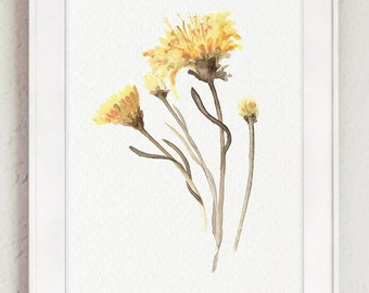 Asters Watercolor Painting, Floral Minimalist Wall Decor, Aster Yellow Flower Abstract Art Print