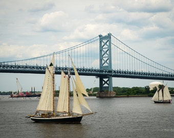 Philadelphia Photo, Historic Tall Ships, Landmarks, Ben Franklin Bridge, Delaware River, Philly Print, Home Wall Art, Office Wall Art