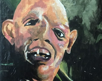 Goonies Sloth Portrait Original Acrylic Painting on Cradled Wood Panel - READY TO HANG!