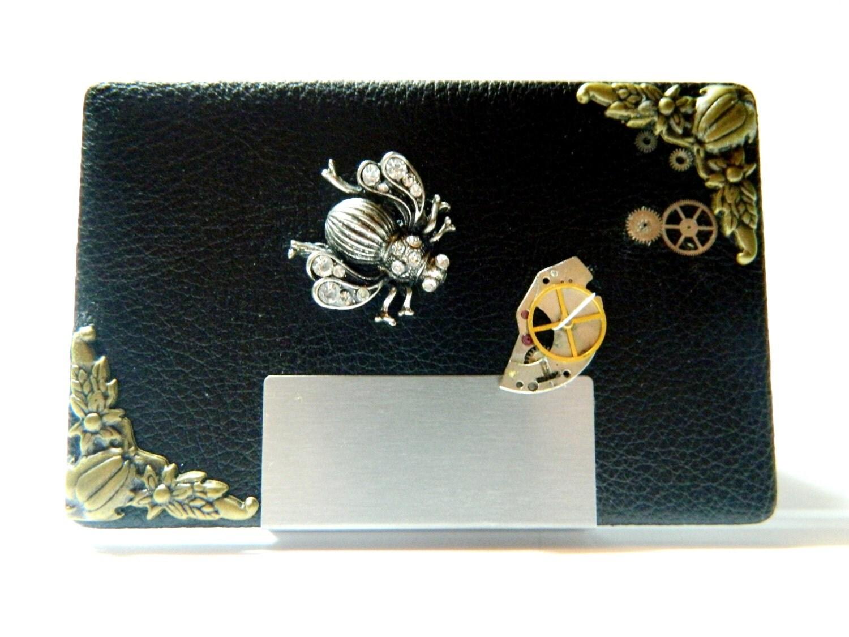 Steampunk business card case queen bee metal and by for Steampunk business card holder