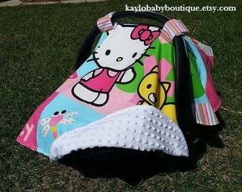 Hello Kitty In The Garden Print Baby Car Seat Cover/Canopy Baby Protection Backed with Soft Dot Minky