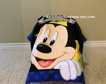 Mickey Mouse Baby Car Seat/Canopy with Backed Soft Dot Minky