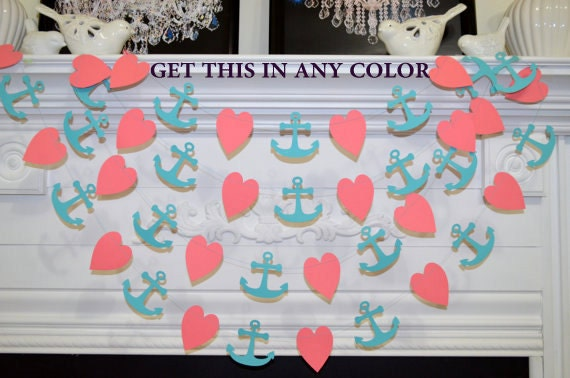 Coral Heart And Anchor Garland Nautical Decorations Nautical