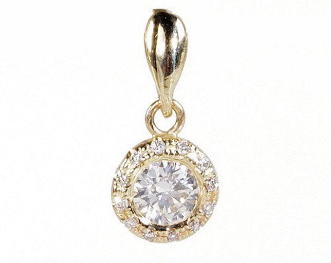 Halo Diamond Pendant-0.90 Carats Gold Diamond Pendant-14K Yellow Gold necklace-For her-Anniversary gift-Halo necklace-Diamond necklace