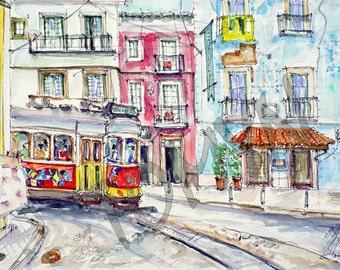 LISBON.  Portugal. The streets of Lisbon. Lisbon Watercolor Art. Color TRAM.Original watercolor painting.