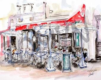 Le Petit Cafe. Paris.  France. Original watercolor.