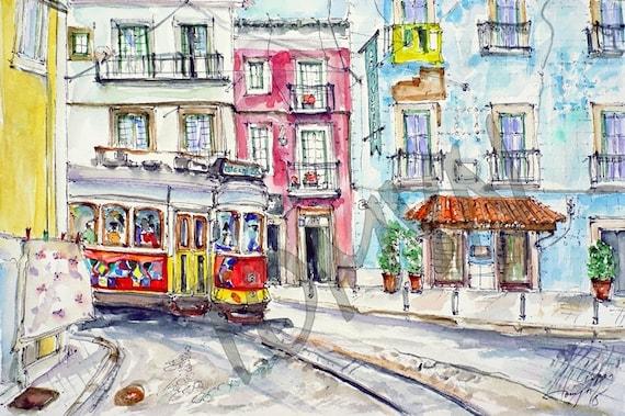 les rues de lisbonne tramway de couleur aquarelle originale. Black Bedroom Furniture Sets. Home Design Ideas