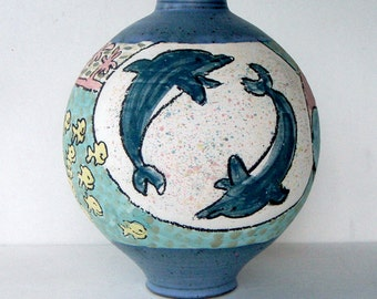 Vintage Unique Modern Large Art Studio Pottery Underwater Sea Life Vase Olla Signed and Marked