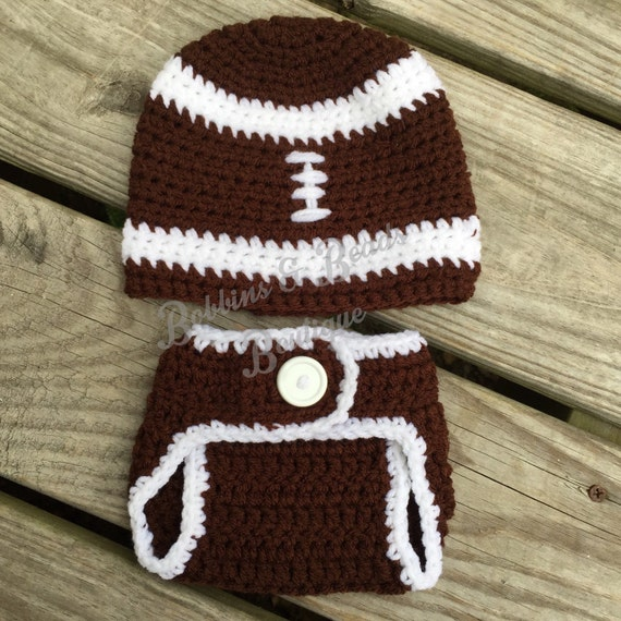 Crochet Football Hat and Diaper Cover ~ Customization available ~ Free shipping, Football set, Football lovers, Newborn Football Photography