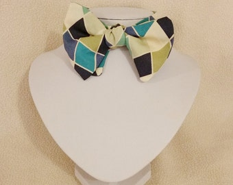 Adjustable Bow Tie - Argyle Diamonds